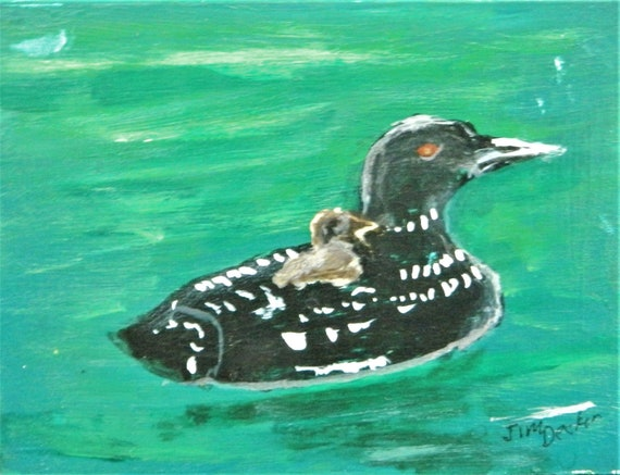 LOON, Wild life, With Free Easel , Lake painting Jim Decker