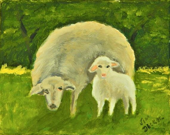 SHEEP PAINTING Sheep and her Lamb