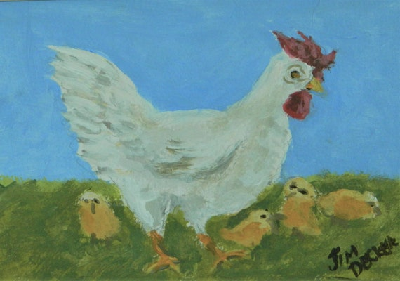 MOTHER HEN With Chicks Original 8 x 10 watercolor by Jim Decker Free Shipping