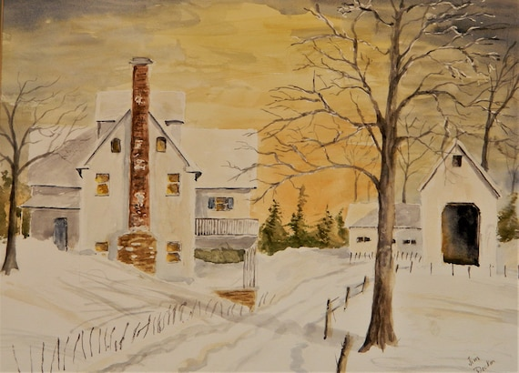 MAINE WINTER PAINTING,  Winter Country Landscape watercolor 18 x 24 by Jim Decker Free Shipping