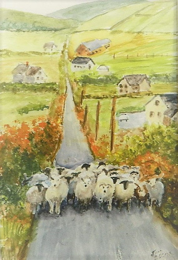 SHEEP PAINTING  Where Are The Ewes Going  Sheep Farm Painting