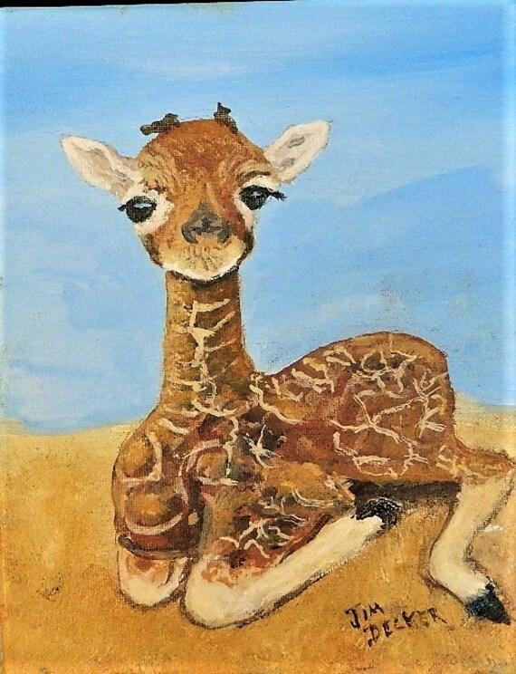 BABY GIRAFFE PAINTING   Nursery Painting, Childrens Art, Slall Painting