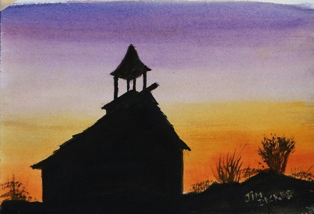 COUNTRY CHURCH Sunset Painting Original Watercolor Church Maine Art Landscape