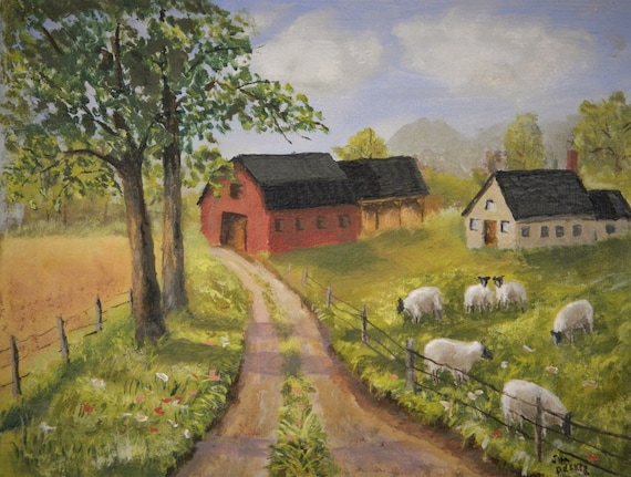 SHEEP FARM PAINTING  Sheep , Red Barn, Farm Road, Farm Painting, Farm Landscape  Jim Decker