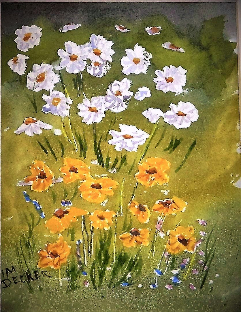 Daises Flowers Originial Watercolor Small Painting Wild Flowers