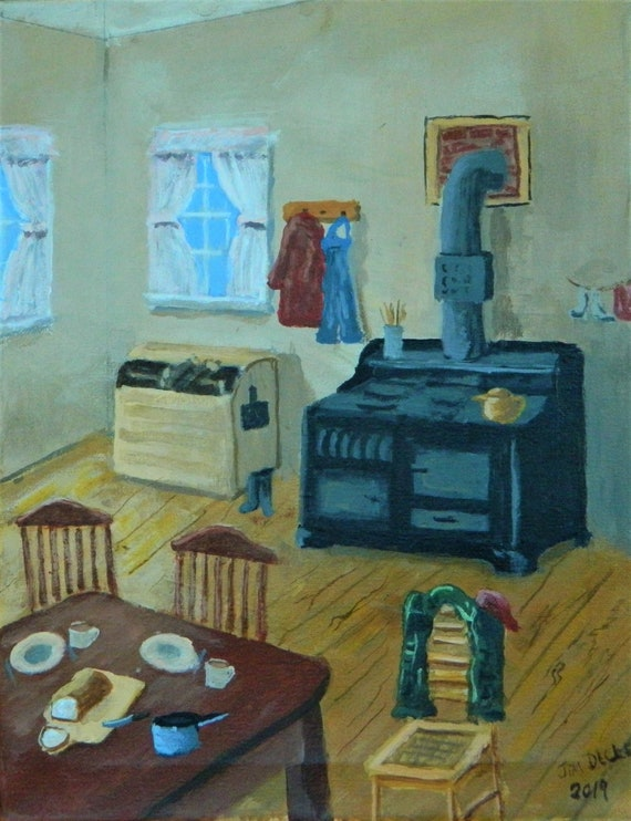 COUNTRY KITCHEN  Cook Stove Kitchen Original Painting 11 x 14 by Jim Decker Free Shipping