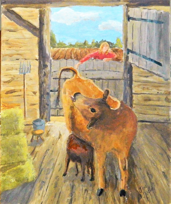 FARM GIRL Cow Painting, Barn Farm Painting Jim Decker