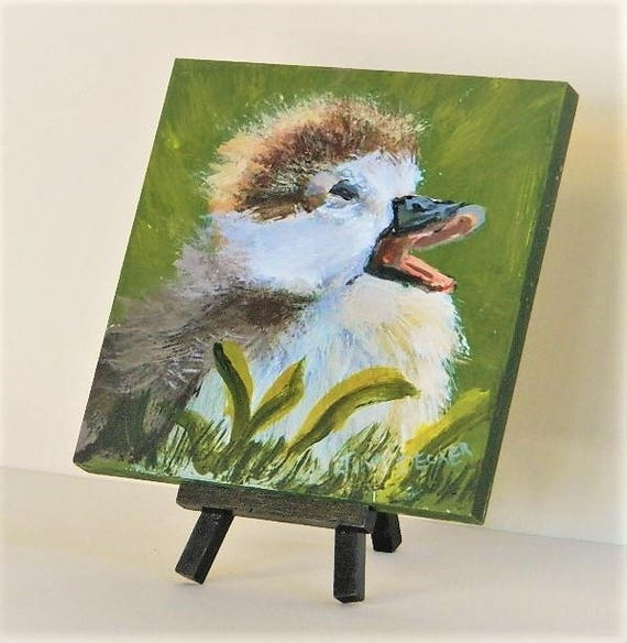 SPRING DUCK Mini easel painting  6 x 6 Free Shipping