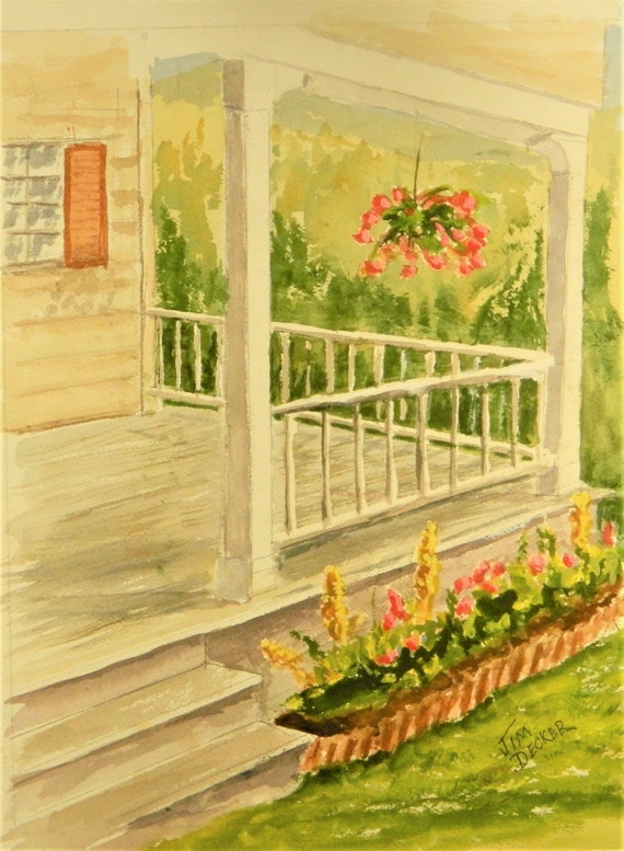 FRONT PORCH Country Original Watercolor 16 x 20 Free Shipping