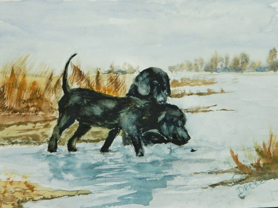 BLACK LAB PAINTING  Two young labs  different personalities Original Jim Decker