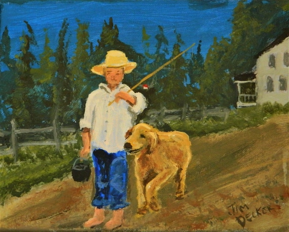 BOY And His DOG       Lets Go Fishing  Free Shipping