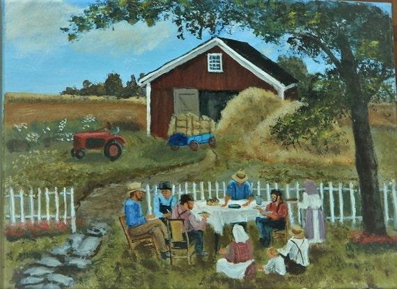 AMERICANA PAINTING , Good Neighbors, Farm Painting
