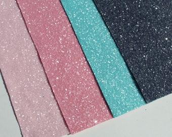 """Pack#6 Chunky Glitter Pack - Chunky Glitter Fabric Sheet 8 X 11"""" - Glitter Fabric Sheet"""