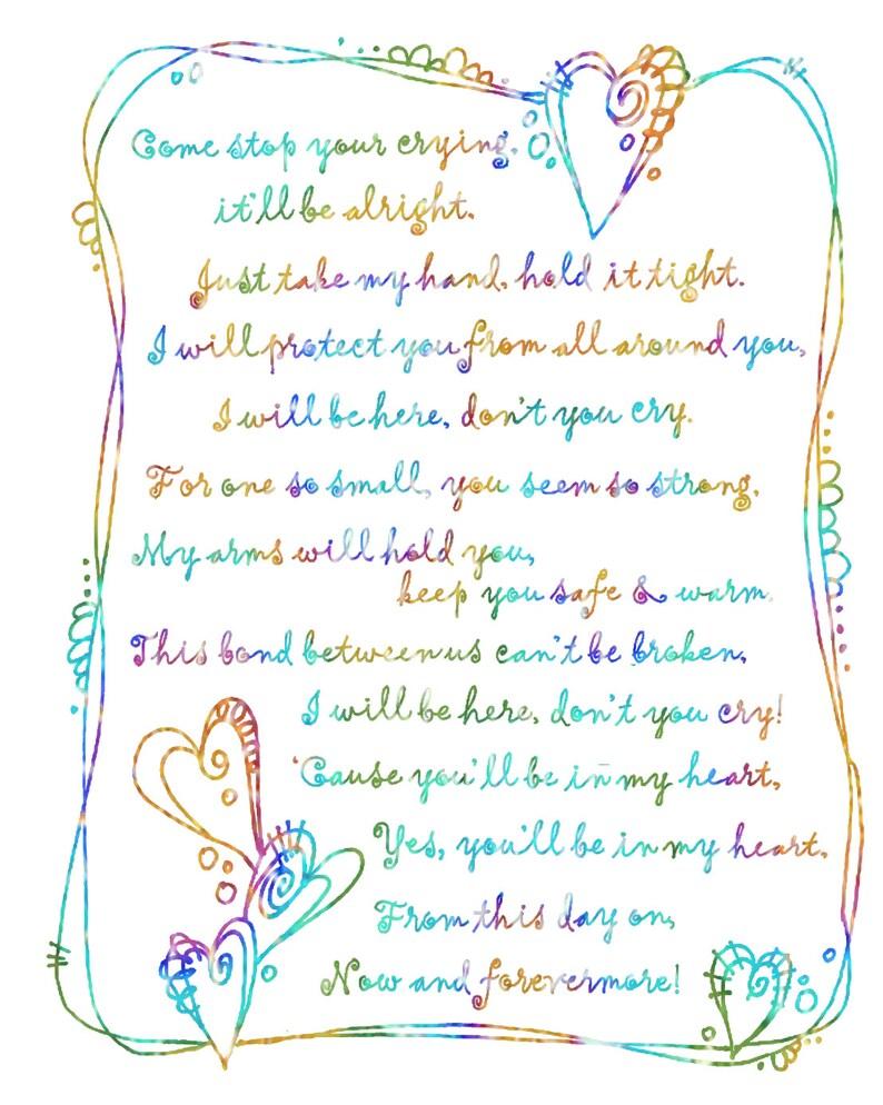 7e199beda Estarás en mi corazón  Digital letra canción acuarela pintada