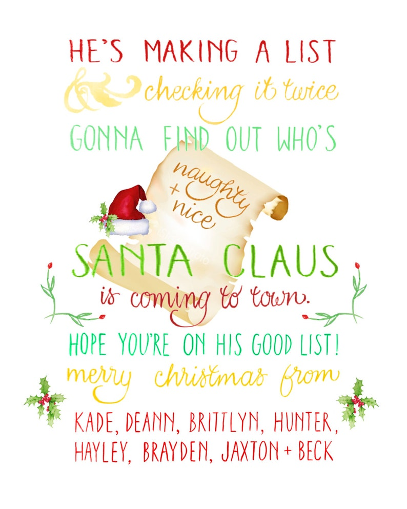 Customizable Hand-Lettered Christmas Card with Song Lyrics