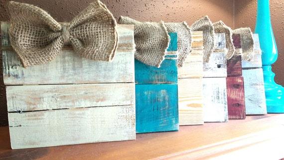 Rustic Pallet Wood Picture Frame Photo Hanger Burlap Bow Etsy