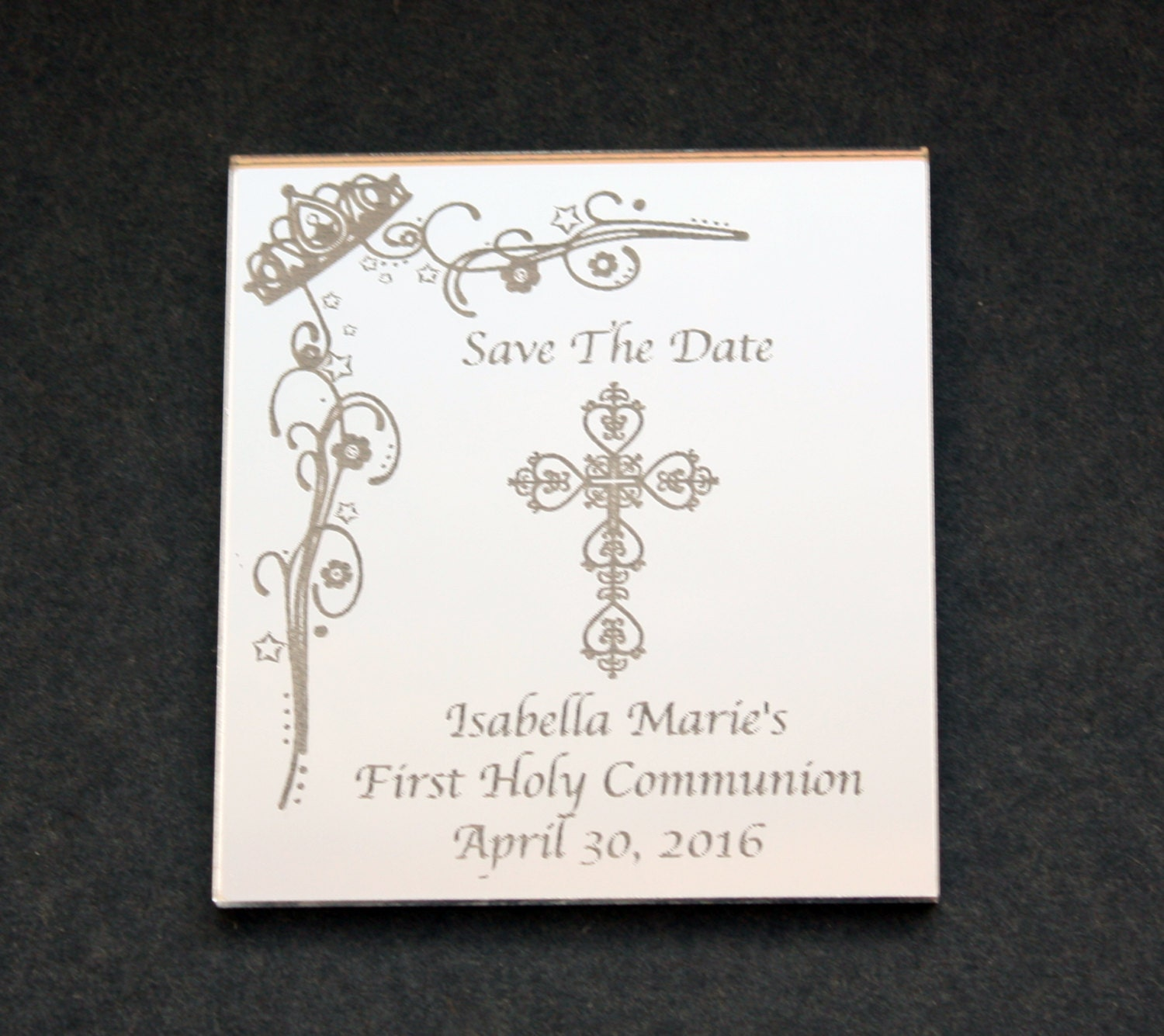 Holy Communion Save The Date Magnet With An Engraved Mirror Etsy