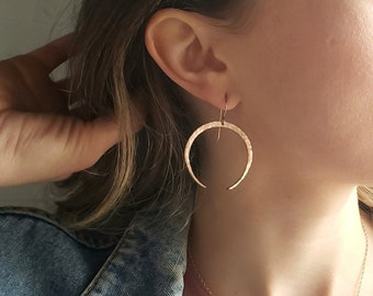 Crescent moon earrings, witchy earrings, rose gold moon earrings, boho earrings, goddess earrings, moon phase earrings, wiccan jewelry