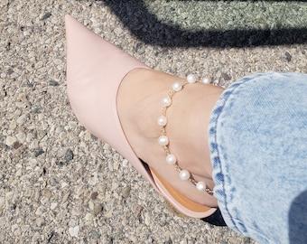 Pearl ankle bracelet, pearl anklet, gold filled anklet, large pearl anklet, rose gold pearl anklet, sterling silver anklet, summer jewelry