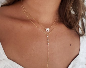 Pearl lariat necklace, bridal necklace, gold layered necklace set, vintage style pearl necklace, dainty necklace, pearl necklace set