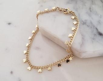 Heart link bracelet, tiny heart bracelet, dainty gold filled bracelet, curb chain bracelet, heart charm bracelet, friendship bracelet