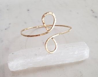 Infinity bracelet, upper arm cuff, gold filled bracelet, gold upper arm cuff, upper arm bracelet, boho bracelet, hammered gold bangle