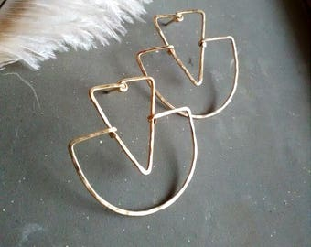 geometric stud earrings, gold triangle stud earrings, minimalist stud earrings, gold wire earrings, gold studs, triangle studs