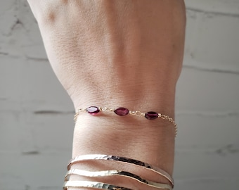 Red garnet bracelet, garnet bracelet silver, gemstone bracelet, garnet gold bracelet, dainty garnet bracelet, January birthstone bracelet