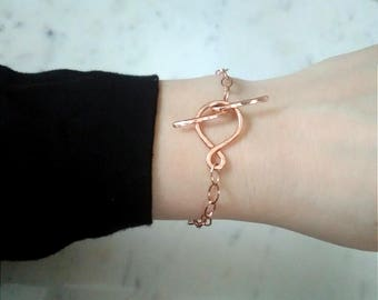 Rose gold toggle clasp bracelet, Rose gold chain bracelet, delicate rose gold bracelet, toggle clasp bracelet, simple rose gold bracelet