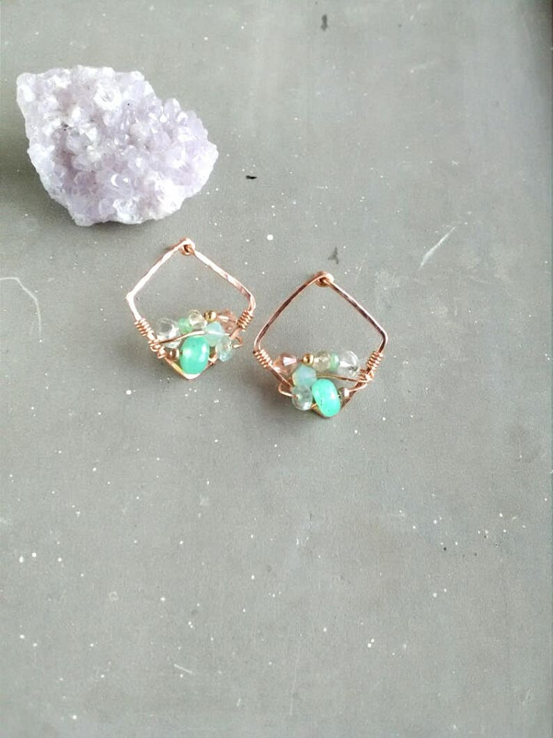 2b95ad66d Seafoam green Crystal rose gold stud earrings Chrysoprase | Etsy