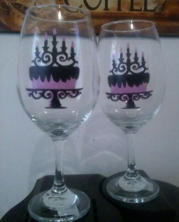 Fancy Birthday Cake Wine Glass Set