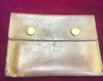 Vintage Brown Leather Change Purse