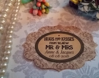 Hugs and kisses tags - Personalized Wedding Tag, Wedding Tag, Wedding Favor Tag. Set of 25 to 300 pieces