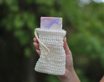 Sisal Soap Bag, Sisal Pouch, Soap Bag, Soap Pouch, 100% Natural Sisal, Exfoliate, Soft, Gentle.