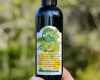Lemon & Sage Body Wash, 100% Natural, Lemon Body Wash, Sage Soap, Sage Body Wash, Natural Body Wash, Natural Soap, Lavender Soap, Natural.