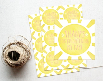 Sunshine Thank You Favor Tag, You are my Sunshine Baby Shower Gift Tag, Pink & Yellow, Our Little Ray of Sunshine, Birthday Party Printable