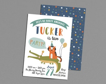 Party Animals Birthday Party Invitation Printable, Zoo Party Invite, Two at the Zoo, Tiger, Crocodile, Boy Bday Invitations, 2nd 1st 3rd 4th