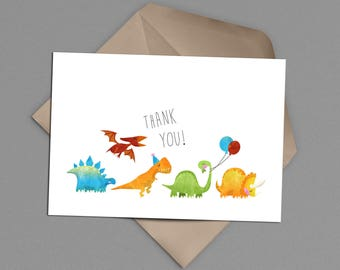 Dinosaur Thank You Card Printable Instant Download, Cakeivore Party, DIY Thank Yous, Boy Birthday Thank You, Dinos, Bday Party