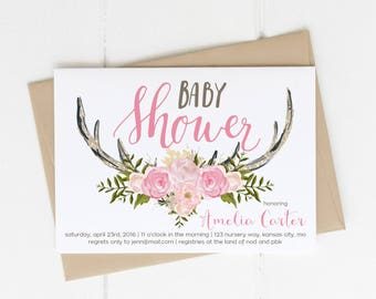Woodland Baby Shower Invitation Printable, Little Deer Pink Girl Antler Theme, Oh Deer Invite, Fawn on the way Couples Coed Shower, Florals