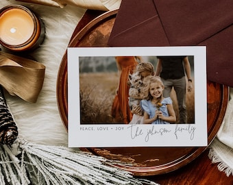 Peace Love Joy Modern Christmas Card with Photo, PRINTED or DIGITAL Family Picture Holiday Card Printable file, Simple Peace Love Joy