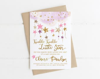 Twinkle Twinkle Little Star Baby Shower Invitations, Do You Know How Loved You Are, Girl Pink & Gold Invite Printable, Wish on a Star