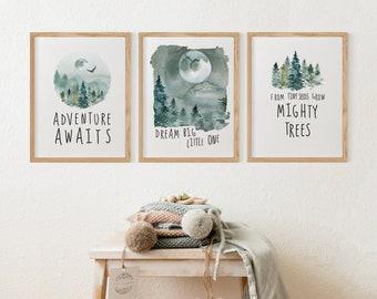 Adventure Nursery Wall Art Set, Green Forest Mountain Adventure Awaits Boy Nursery Decor | Dream Big