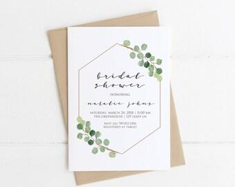 minimalist bridal shower invitation simple bridal shower greenery modern printable invite green branch eucalyptus fall wedding shower