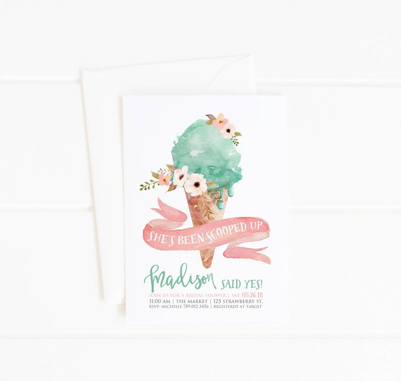 3226f928e99 Ice Cream Bridal Shower Invitation She s Been Scooped Up