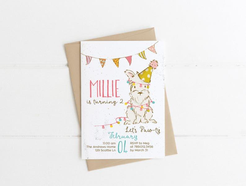 Dog Birthday Party Invitation Printable Puppy Lets