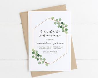 Minimalist Bridal Shower Invitation, Simple Bridal Shower, Greenery Modern Printable Invite, Green Branch Eucalyptus Summer Wedding Shower
