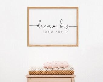 Dream Big Little One Nursery Wall Art | Minimalist Nursery Decor | Black and White Simple Gender Neutral Nursery