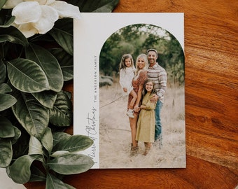 Christmas Card with Photo, PRINTED or DIGITAL Family Picture Holiday Card file, Minimalist Simple and Modern