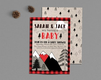Lumberjack Baby Shower Invitation, Buffalo Plaid Invite, Printable, Outdoor Camping Couples Co-ed Shower, Mountains Adventure, Winter Retro