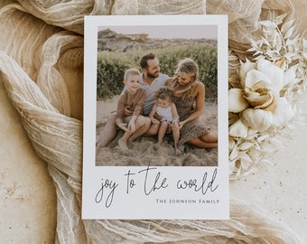 PRINTED Joy to the World Christmas Card with Photo, Printed or Digital Family Picture Holiday Card Printable file, Simple and Modern